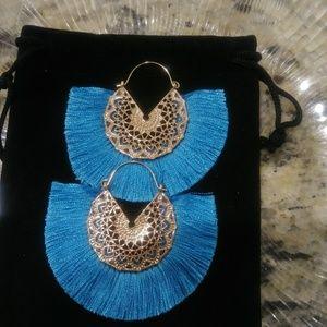 Boho Fan Shaped Teal Tassel Earrings